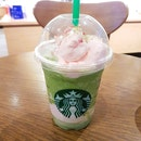 Green Tea Strawberry Blossom Frappuccino