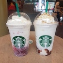 Coconut Strawberry Bliss / Roasted Marshmallow S'mores Frappuccino