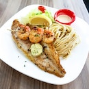 Pacific Dory & Grilled Garlic Shrimp
