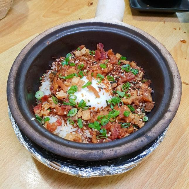 Pork Lard, Bacon, Furikake Claypot Rice