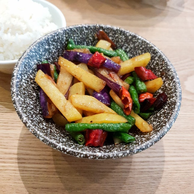 Fried Potato, Eggplant and Long Bean (地三鲜)