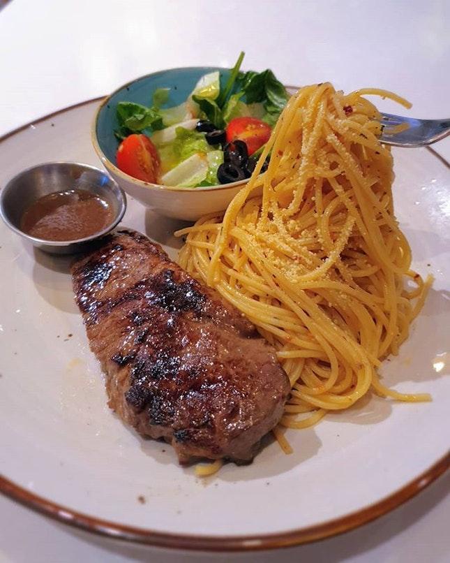 Medium rare steaks for $10 at Funan Mall!