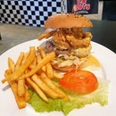 Bikini bottom - Salted egg yolk softshell crab burger ($16.80) .