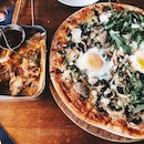 "Addictive Cheese Fries ($16) and 13"" Pizza (The Morning After + Truffle And Egg) ($27.50)"