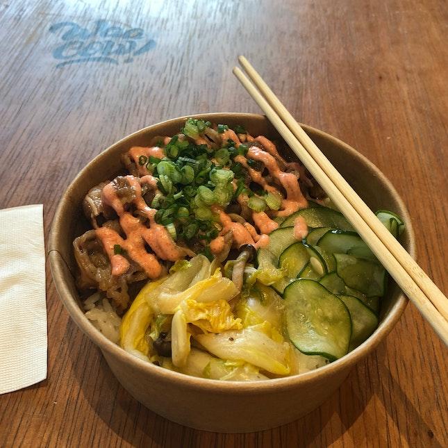 Beef Sukiyaki Bowl (with Mentaiko) ($13)