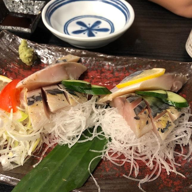 Shime and Fresh Toro-Saba Sashimi