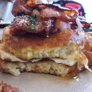 Candied Bacon & Grilled Cheese pancake ($12)