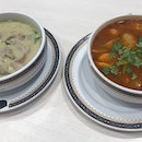 Tomyam chicken and Green Curry Pork at Took Lae Dee.