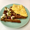 Tiann's waffles w scrambled eggs & fresh mozerella (smoked trout was OOS that day)