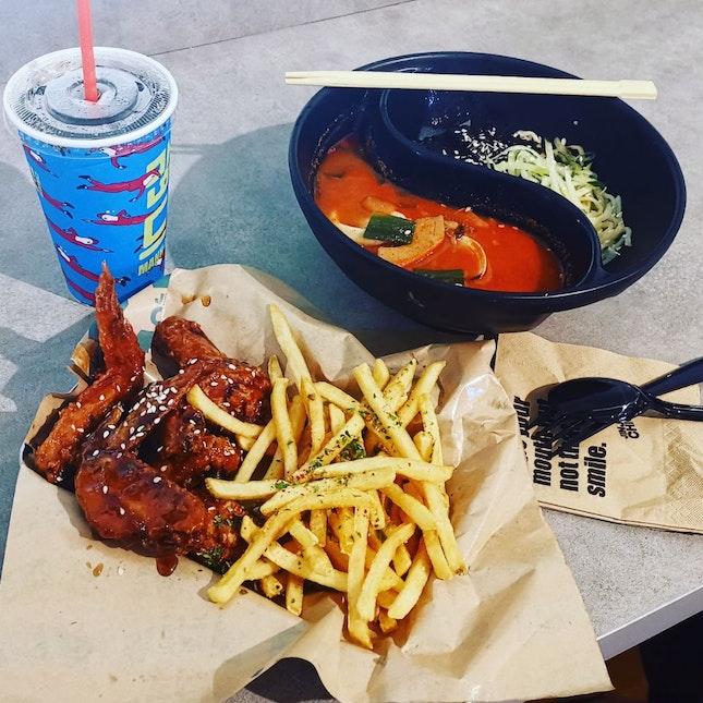 Fried Chicken And Jjajang Myeon And Jjampong