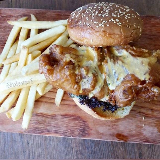 Salted Egg Yolk Chicken Burger from D'Bar!