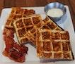 Cheddar Cheese Bacon Waffles ($19) 🥓🧀