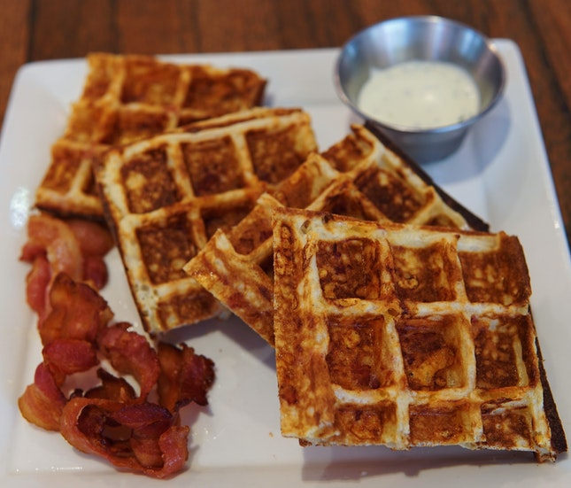 Cheddar Cheese Bacon Waffles ($19) 🥓🧀