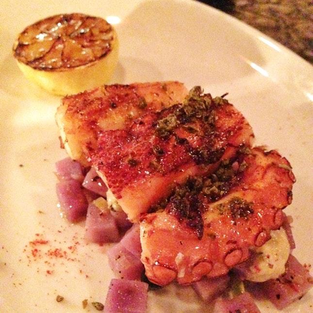 Grilled octopus, smoked leeks, purple potatoes & tuna mayo