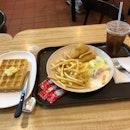 Fish & Chips, Plain Waffle, Iced Lemon Tea.