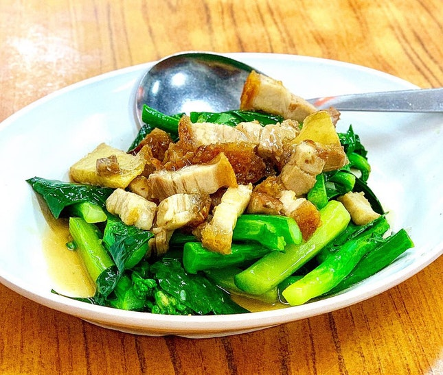 Kailan with Roast Meat ($15)