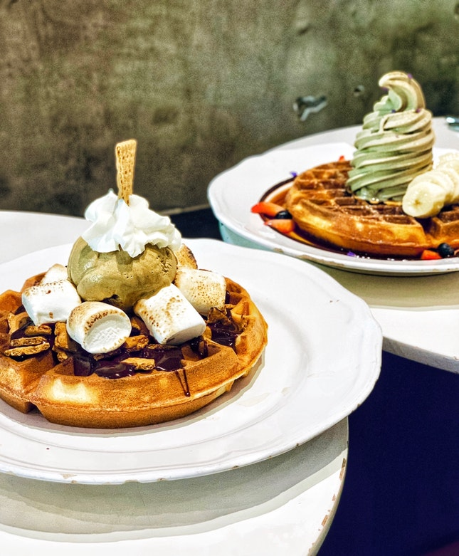 Foreground: Earl Grey Gelato w/ S'mores Waffle ($15) // Background: Hojicha Soft Serve w/ Waffle ($14)