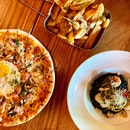 """The Morning After"" Pizza ($25) // Garlic Truffle Fries ($17) // Seafood Squid Ink Risotto ($28)"