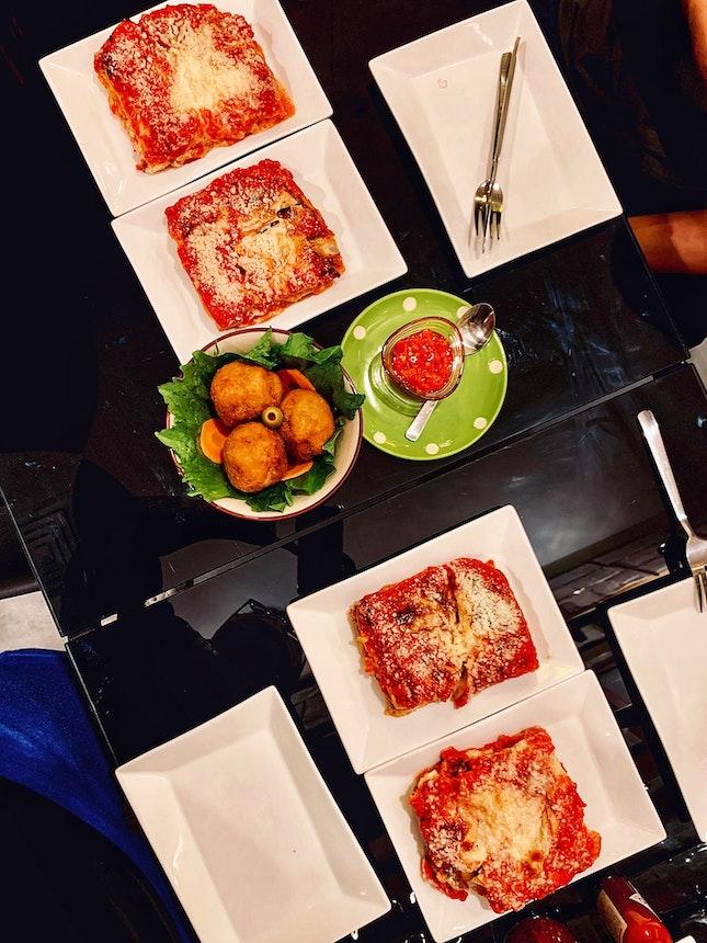 Assorted Lasagna ($11.90 - $13.90) // Risotto Balls (3 For $11)