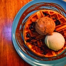 Original Brown Butter Waffle & Double Scoop & Salted Caramel Sauce ($15)