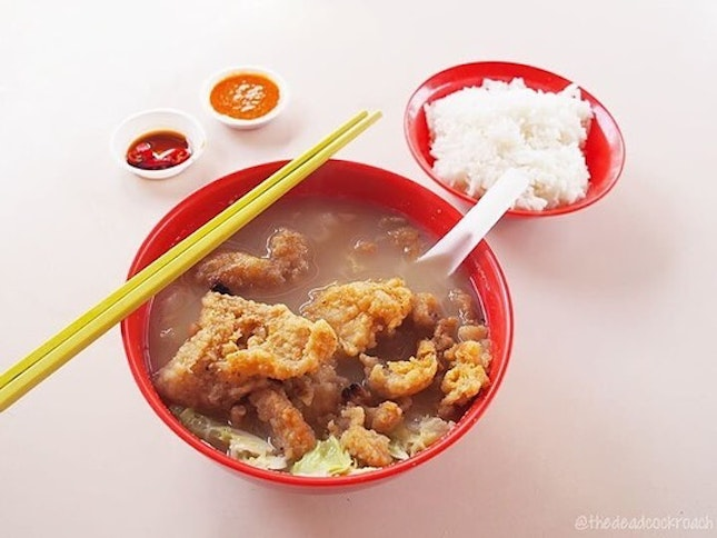 Very popular fried fish soup from Bukit Merah.