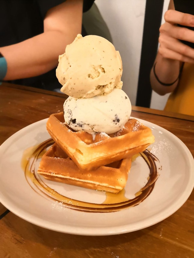 Ice Cream With Waffles
