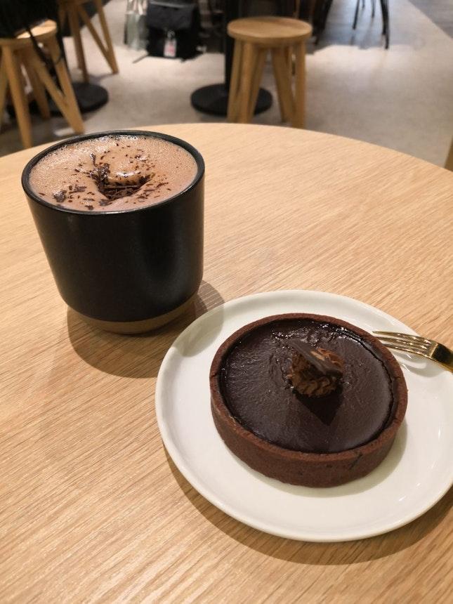 Hot Chocolate Beverage And Tart