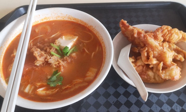 Fried Fish Tom Yum Soup ($4)