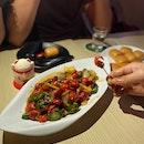 辣炒龙虾尾 Stir Fried Crawfish Tail in Chilli ($22), paired with Fried Mantou with Condensed Milk ($7)