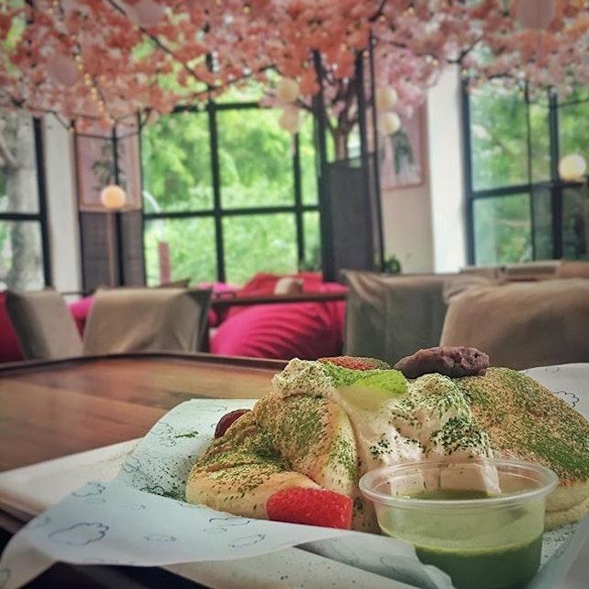 """""""リズラボのSAKURAパンケーキ""""  habitatに買い物へ。 今日はパンケーキの気分。 リズラボキッチンのメニューを覗いたら、期間限定?SAKURA SPECIAL $16 があるではないの!  店内のデコレーションも桜に変わっていて、特に一番隅のくつろぎイートインスペースが桜満開で、席も座椅子やビーズクッションに座る仕様に変わってて素敵でした!(別ポストに写真載せます)  パンケーキも相変わらずのふわっふわで、ほんのりピンクがかった桜のクリームも別添えの抹茶ソースも最高!  買い物カゴを自動レジに突っ込んだ後は、会計が終わるまで少し時間があるので、気になっていた MR."""