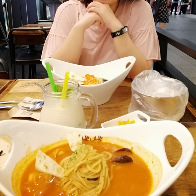Delicious Pasta And Lychee Yoghurt Drink