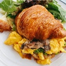 Croissant With Scrambled Egg And Mushroom