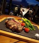 Steak ($98, Serves 2) & Lychee Martini ($15)
