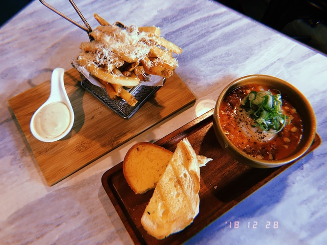 Truffle Fries And Baked Eggs With Melted Cheese Toast
