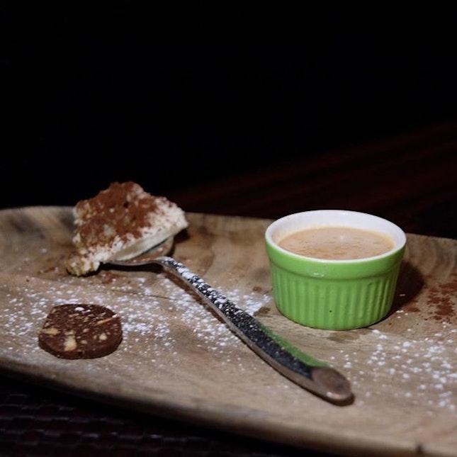 Tiramisu, chocolate salami and hazelnut panna cotta .