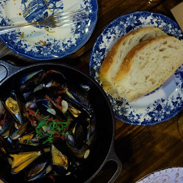 Norwegian mussel, golden ale, chorizo and wave slice (bread) $25.