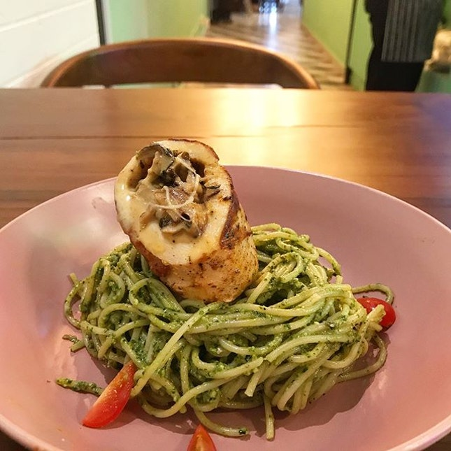 Pasta pesto with grilled chicken (more of grilled chicken cordon bleu), although the pesto isn't very herby and much more parm-y, it's actually fine since the spice from the grilled chicken might clash with the strong herb from pesto.