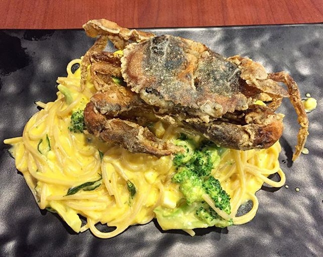 Salted Egg Soft Shell Crab ($16.90) - Imagine your favourite salted egg; thick, creamy savouriness, mixed with a pool spaghetti.