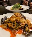 Triple Garlic Seafood Pasta ($25+)
