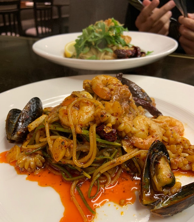 Triple Garlic Seafood Pasta ($25+)