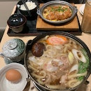 Beef Udon in Hot Pot and Chicken Cutlet with Egg
