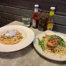 Grilled Salmon Pasta ($15.90) & Carbonara ($13.90)