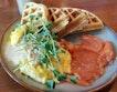 Savoury Waffles with Scrambled Eggs & Smoked Salmon ($21)