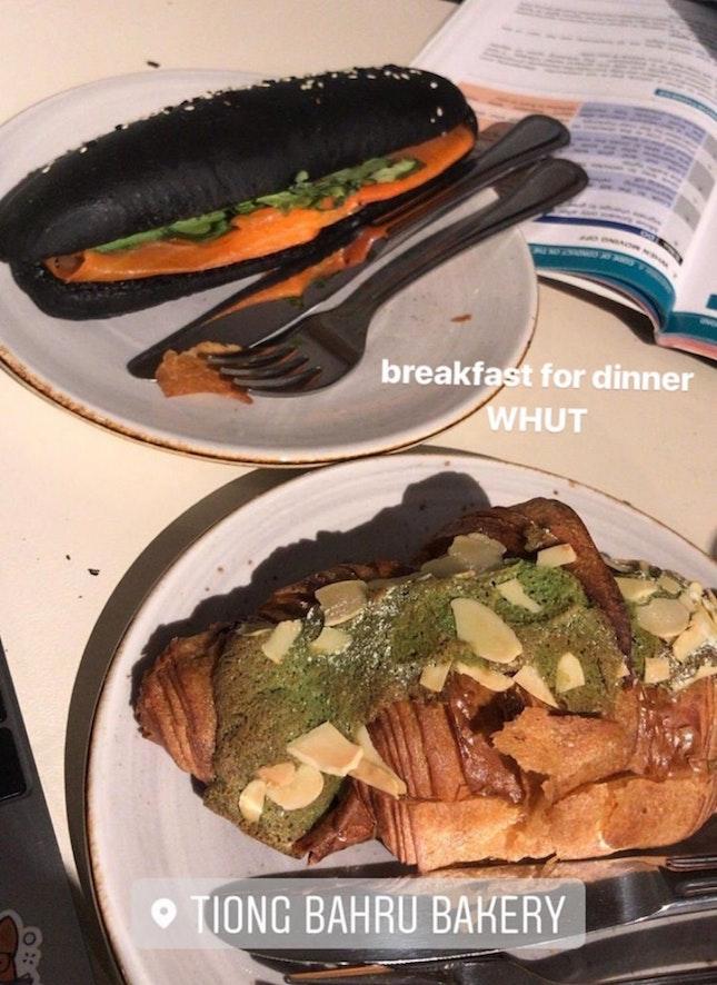 Matcha Croissant & Smoked Salmon Sandwich