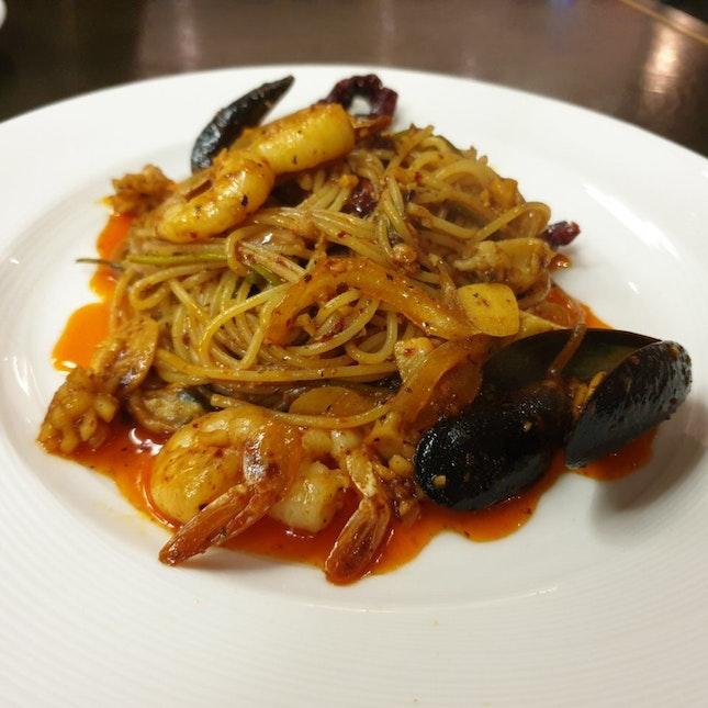 Triple Garlic Seafood Pasta ($25)