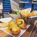 Salted Egg Cod Fish & Chips ($32++)