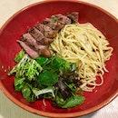 Josper Oven-Grilled Striploin Steak with Pasta ($16++)