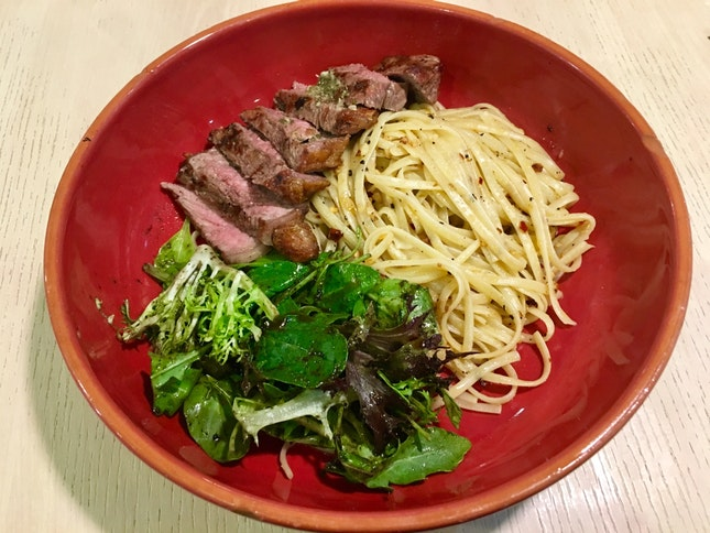 Josper Oven-Grilled Striploin Steak with Pasta ($16++)