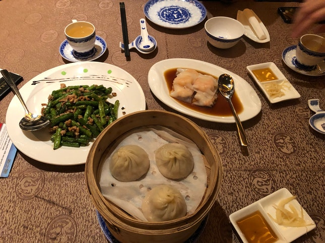 Yummy Dimsum but a strange fixation on chasing customers out..