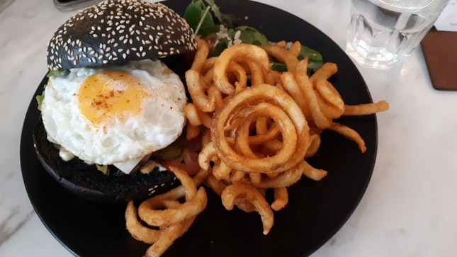 Charcoal Burger With Curly Fries